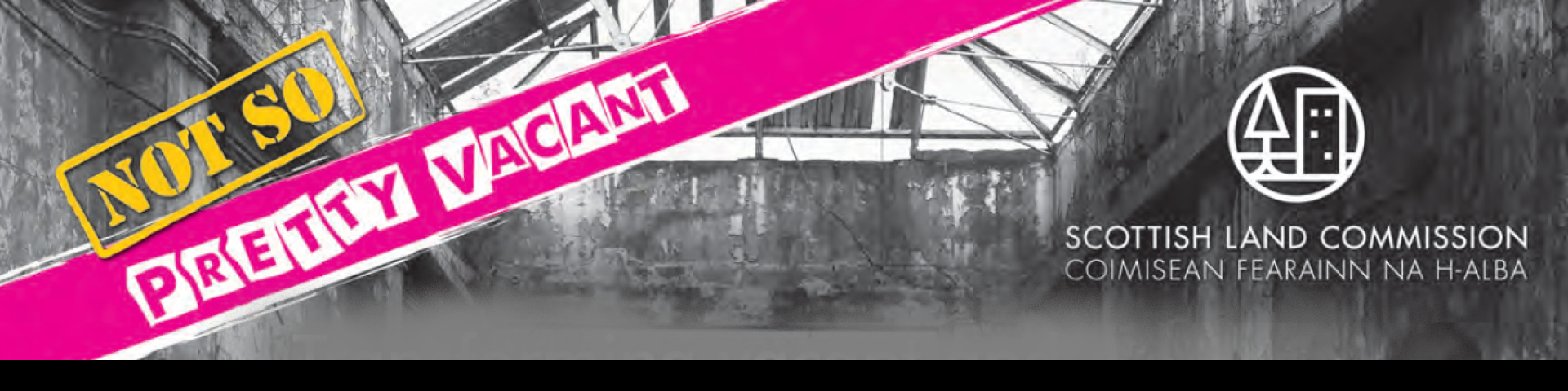 Vacant and Derelict land logo with notsoprettyvacant hashtag