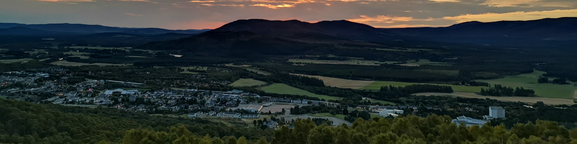 Sunrise over Aviemore and the Cairngorms mountains
