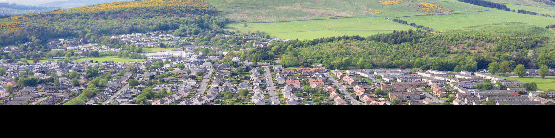 Mixed use landscape showing urban and rural land in Scotland. Credit: iStock.com - georgeclerk.