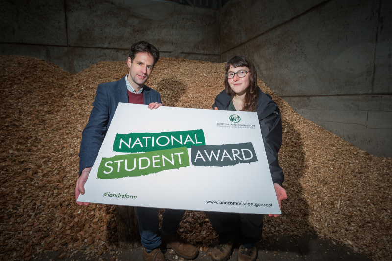 Chief Exec Hamish Trench and 2020 winner Heloise Le Moal