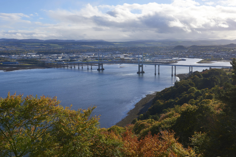 The view from Ord Hill looking to Kessock Bridge and Inverness