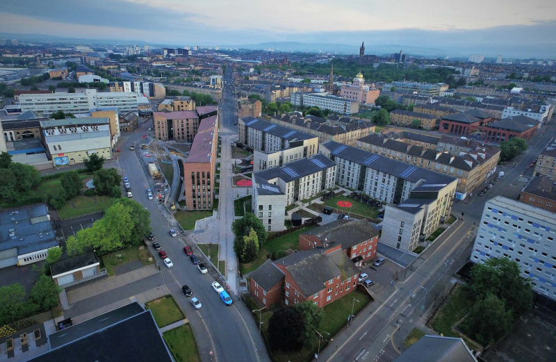 Aerial View of Anderston Regeneration Project, 2018 (Credit - Andrew Lee; courtesy of Collective Architecture)