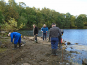 Volunteers from the Doune Community Woodland Group at work on Doune Ponds.