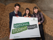 Scottish Land Commission Chief Executive Hamish Trench, National Student Award winner Heloise Le Moal, and Head of the Scottish School of Forestry and Programme Leader, BSc (Hons) Forest Management, Amanda Bryan